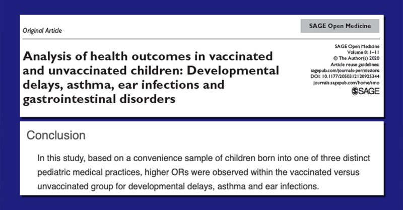 New Research Study Clarifies Health Outcomes in Vaccinated versus Unvaccinated Children